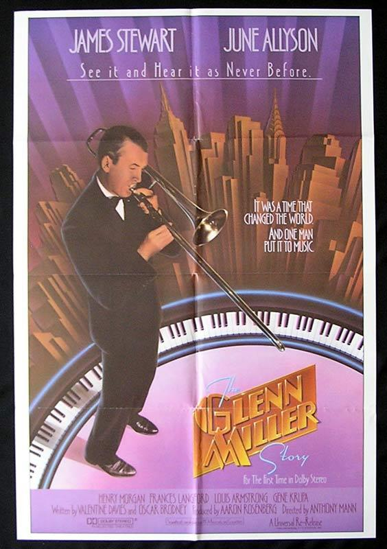 THE GLENN MILLER STORY Original One sheet Movie poster James Stewart June Allyson 1985r