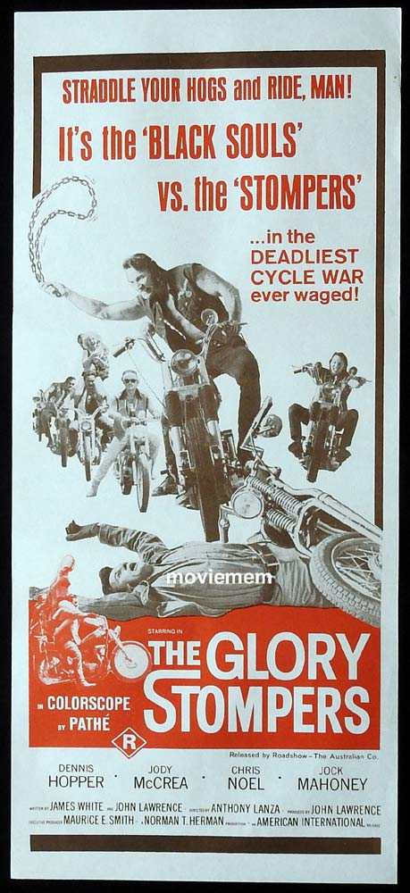 THE GLORY STOMPERS Original Daybill Movie Poster Dennis Hopper Motorcycle Biker