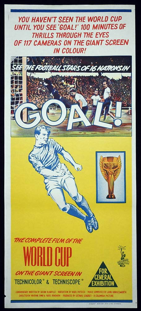 GOAL Original Daybill Movie Poster Enlgand 1966 World Cup soccer