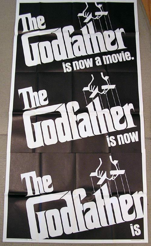 THE GODFATHER 1972 Marlon Brando RARE US ADVANCE 3 sheet poster