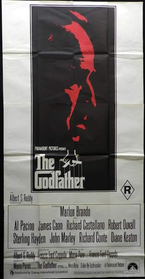 THE GODFATHER Original Australian 3 Sheet Movie poster Marlon Brando