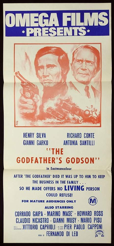 THE GODFATHER'S GODSON Original Daybill Movie poster Richard Conte Henry Silva