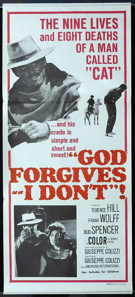 GOD FORGIVES I DON'T Original Daybill Movie poster TERENCE HILL Bud Spencer