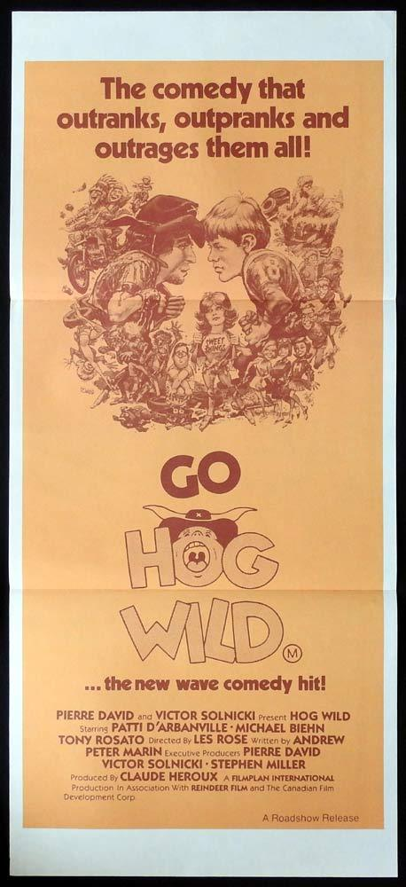 GO HOG WILD Original Daybill Movie Poster Patti D'Arbanville Michael Biehn