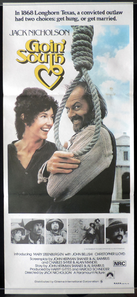 GOIN SOUTH Original Daybill Movie poster Jack Nicholson Mary Steenburgen John Belushi