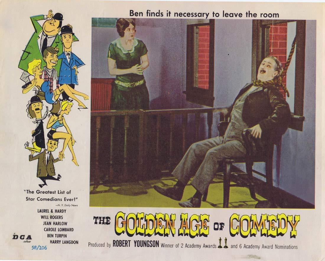 THE GOLDEN AGE OF COMEDY Original Lobby Card Ben Turpin Laurel and Hardy