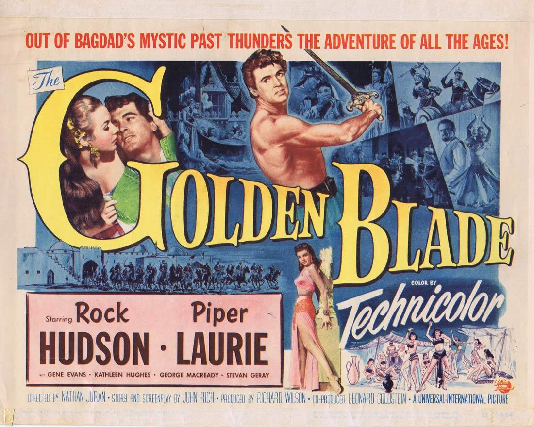 THE GOLDEN BLADE Vintage TitleLobby Card Rock Hudson Piper Laurie
