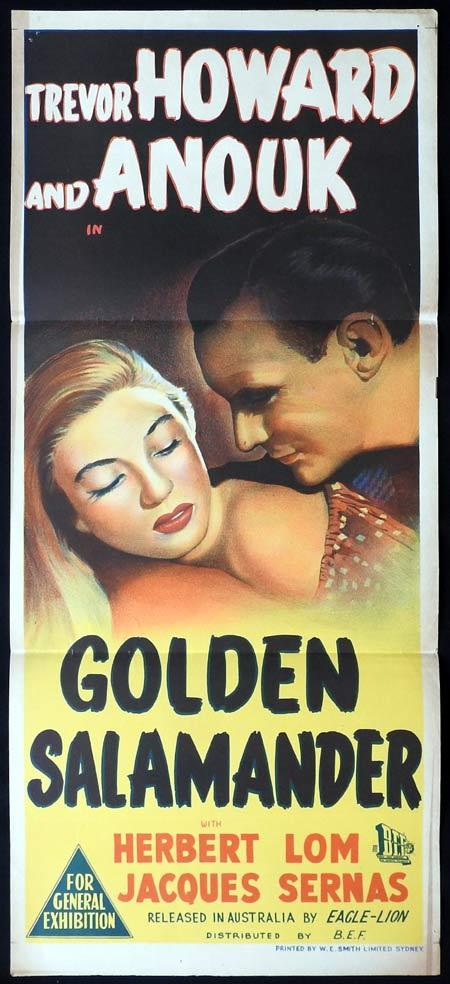 THE GOLDEN SALAMANDER Original Daybill Movie Poster Trevor Howard Anouk Aimée Herbert Lom