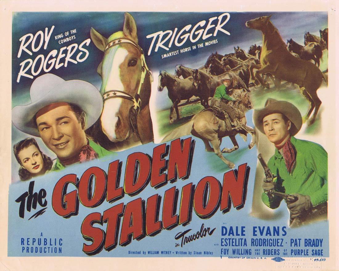 THE GOLDEN STALLION Original Title Lobby Card Roy Rogers