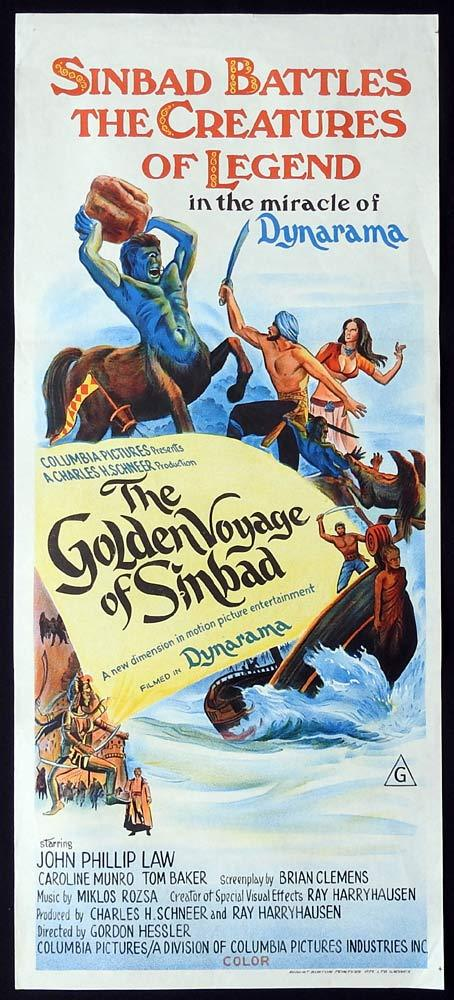 THE GOLDEN VOYAGE OF SINBAD Original Daybill Movie Poster Caroline Munro
