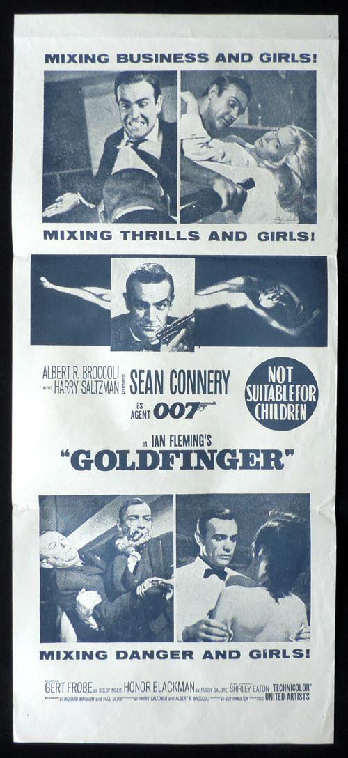 GOLDFINGER 1960sr James Bond Connery ORIGINAL daybill Movie poster
