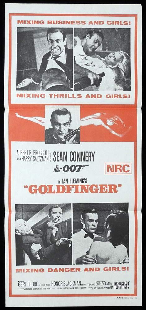 GOLDFINGER 1970sr James Bond Connery ORIGINAL daybill Movie poster