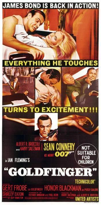 GOLDFINGER '64 James Bond Connery ORIGINAL AUST 3 sheet poster