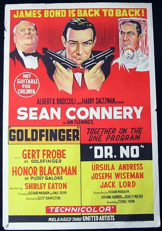 GOLDFINGER/DR NO '64-James Bond-Connery-ORIGINAL Double Bill poster