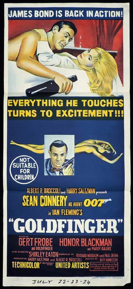 GOLDFINGER Original Daybill Movie Poster James Bond Sean Connery