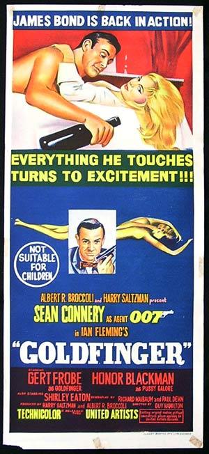 GOLDFINGER 1964 James Bond Connery ORIGINAL rare daybill Movie poster