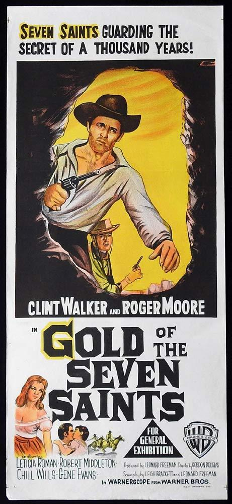 GOLD OF THE SEVEN SAINTS Original Daybill Movie Poster Clint Walker Roger Moore