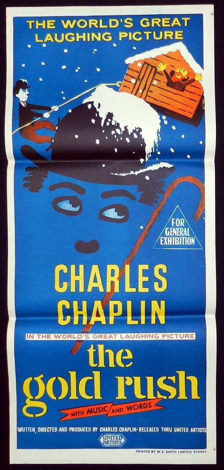 THE GOLD RUSH Original Daybill Movie Poster 1950sr Charlie Chaplin