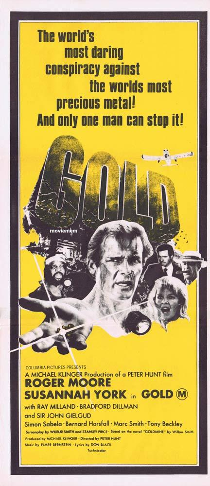 GOLD Australian Daybill Movie Poster Roger Moore