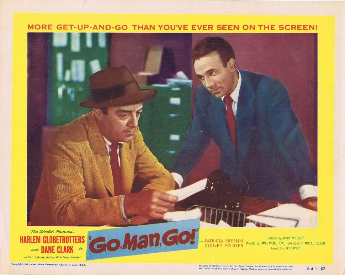 GO MAN GO Original Lobby Card Dane Clark Sidney Poitier Ruby Dee The Harlem Globetrotters