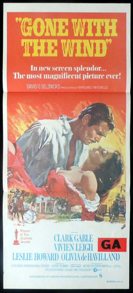 GONE WITH THE WIND Daybill Movie poster 1974r Clark Gable Vivien Leigh