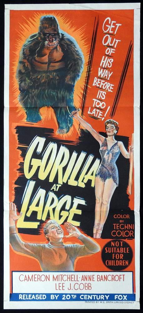 GORILLA AT LARGE Original Daybill Movie poster Cameron Mitchell Anne Bancroft