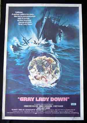 GRAY LADY DOWN Movie poster 1966 Rare CHARLTON HESTON Australian One sheet