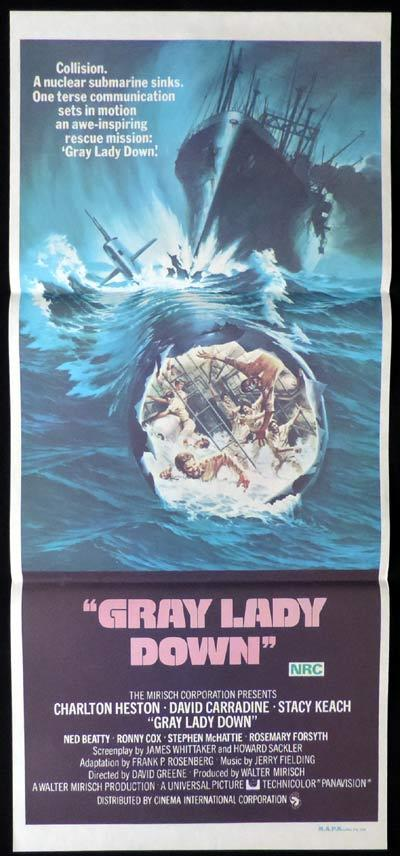 GRAY LADY DOWN daybill Movie poster Charlton Heston