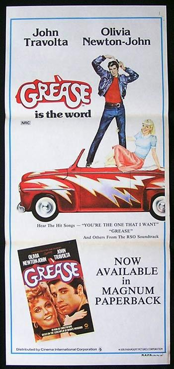 GREASE Daybill Movie poster Olivia Newton John John Travolta