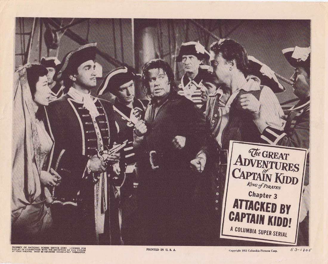 THE GREAT ADVENTURES OF CAPTAIN KIDD Original Lobby Card Chapter 3 Columbia Serial Richard Crane