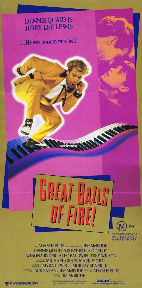 GREAT BALLS OF FIRE Daybill Movie Poster Dennis Quaid Jerry Lee Lewis
