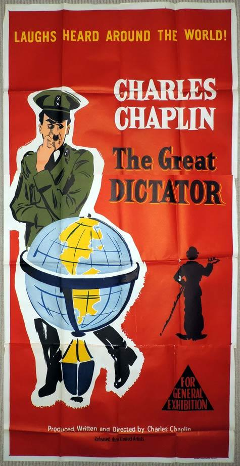 THE GREAT DICTATOR Original 3 Sheet Movie Poster Charlie Chaplin 1950s release