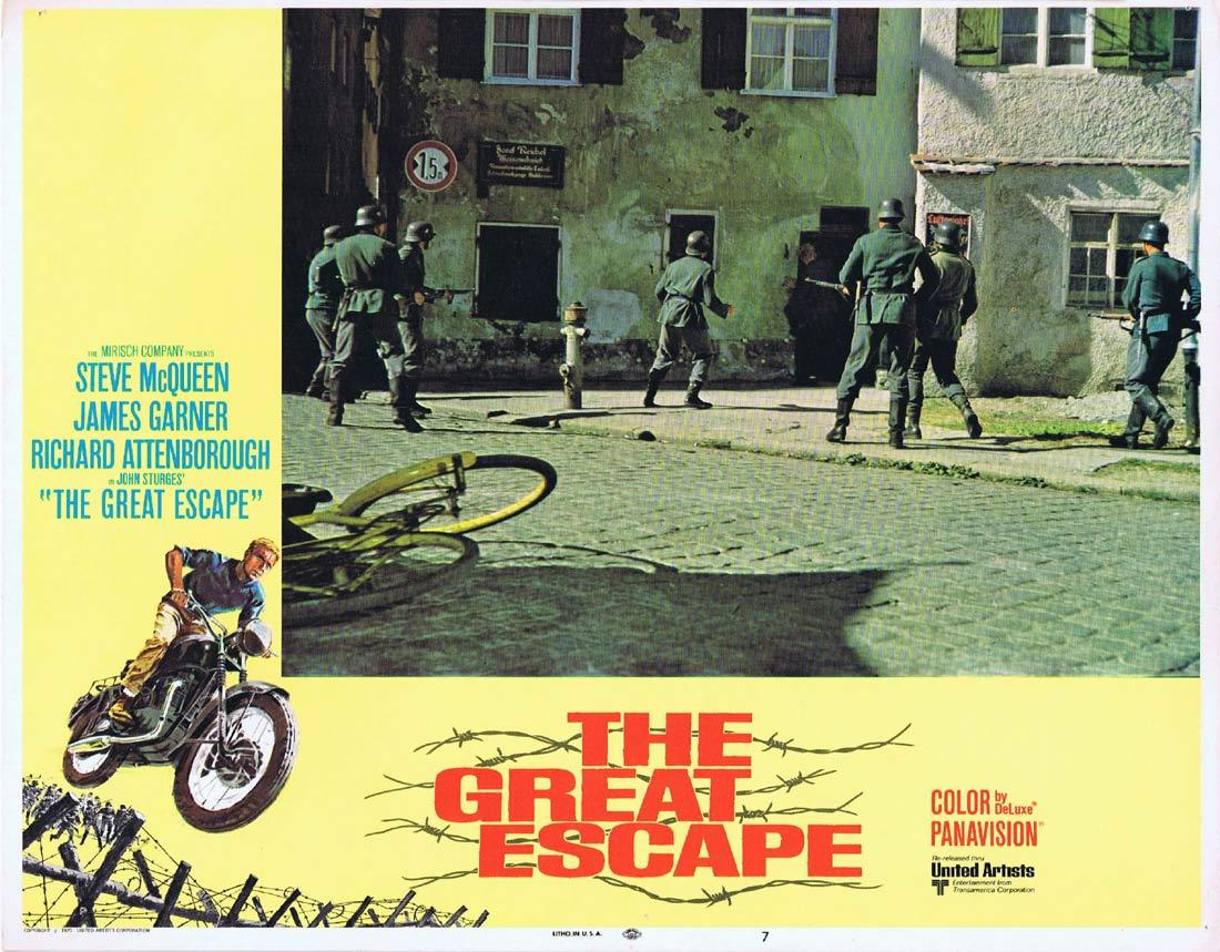 THE GREAT ESCAPE Original Lobby Card 7 Steve McQueen James Garner Richard Attenborough 1970r