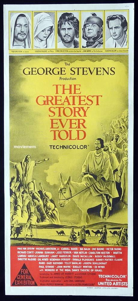 THE GREATEST STORY EVER TOLD Original Daybill Movie Poster Charlton Heston Max Von Sydow