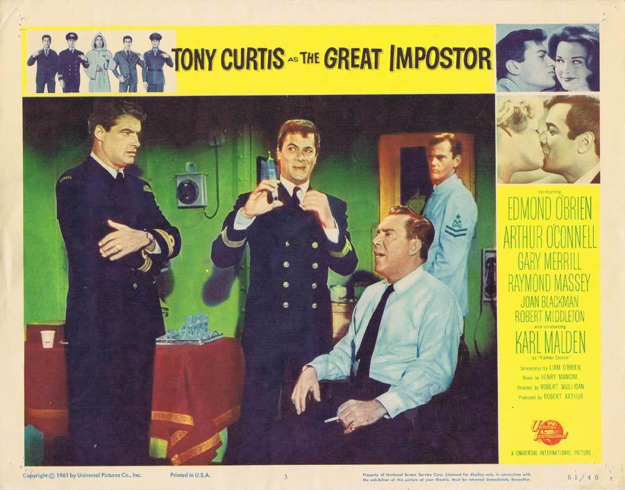 THE GREAT IMPOSTOR Lobby Card 3 Tony Curtis Edmond O'Brien Imposter