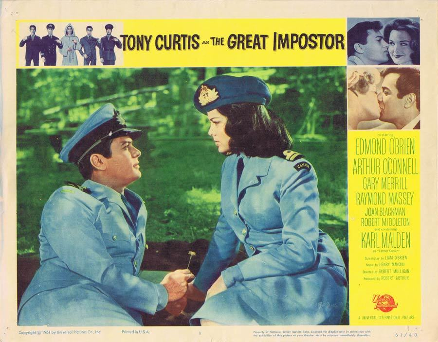 THE GREAT IMPOSTOR Lobby Card 8 Tony Curtis Edmond O'Brien Imposter