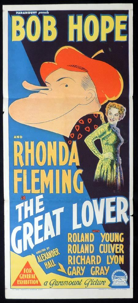 THE GREAT LOVER Original Daybill Movie Poster RHONDA FLEMING Bob Hope Richardson Studio