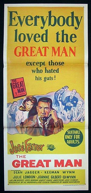 GREAT MAN Movie Poster 1956 Jose Ferrer Australian Daybill