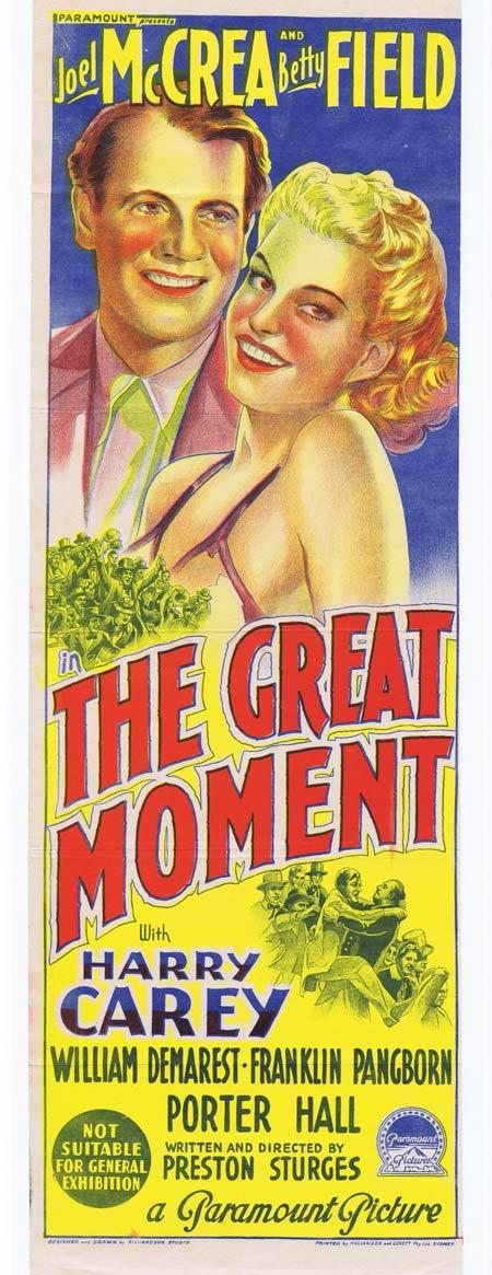 THE GREAT MOMENT Original Daybill Movie Poster JOEL McCRAE Betty Field