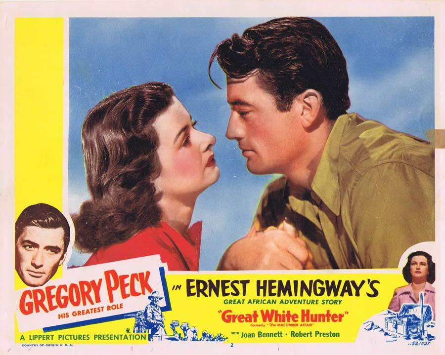 GREAT WHITE HUNTER aka MACOMBER AFFAIR Lobby Card Gregory Peck