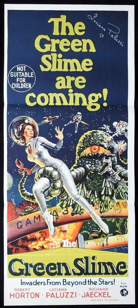 THE GREEN SLIME Daybill Movie poster AUTOGRAPHED Luciana Paluzzi Sci Fi