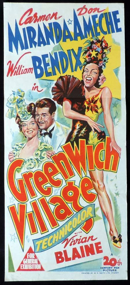 GREENWICH VILLAGE Original Daybill Movie Poster Carmen Miranda