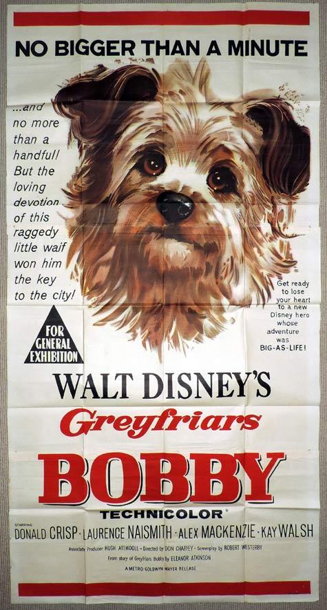 GREYFRIARS BOBBY Original 3 Sheet Movie Poster Laurence Naismith Disney