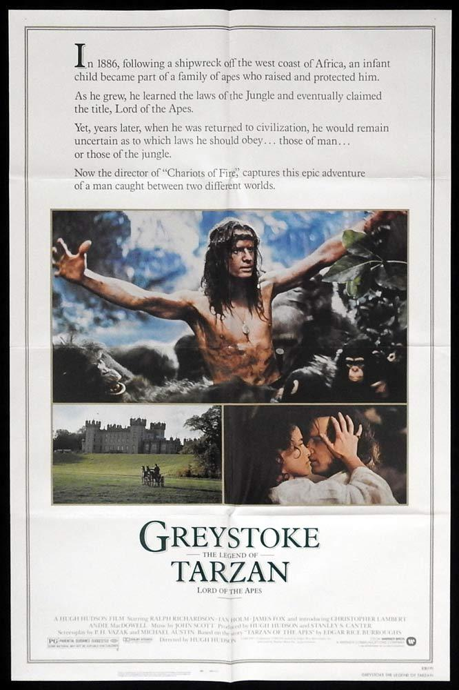 GREYSTOKE LEGEND OF TARZAN Original US One sheet Movie poster Ralph Richardson