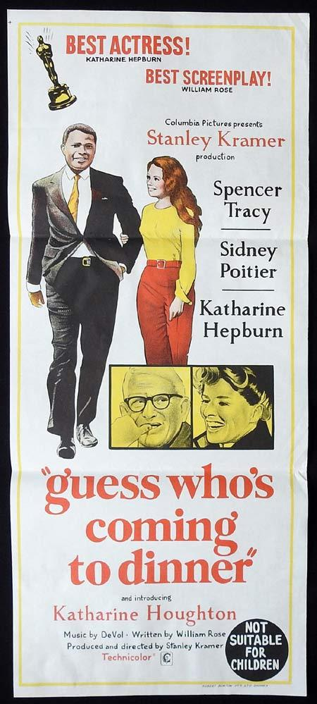 GUESS WHOS COMING TO DINNER Movie Poster 1967 Spencer Tracy Katharine Hepburn daybill
