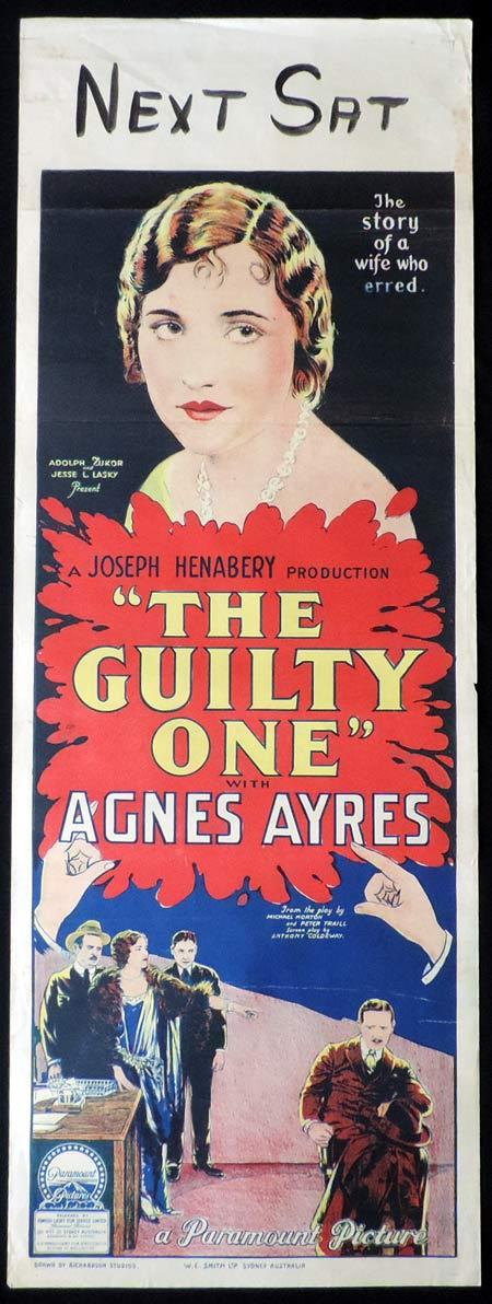 THE GUILTY ONE Original Daybill Movie Poster 1924 Agnes Ayres Richardson Studio