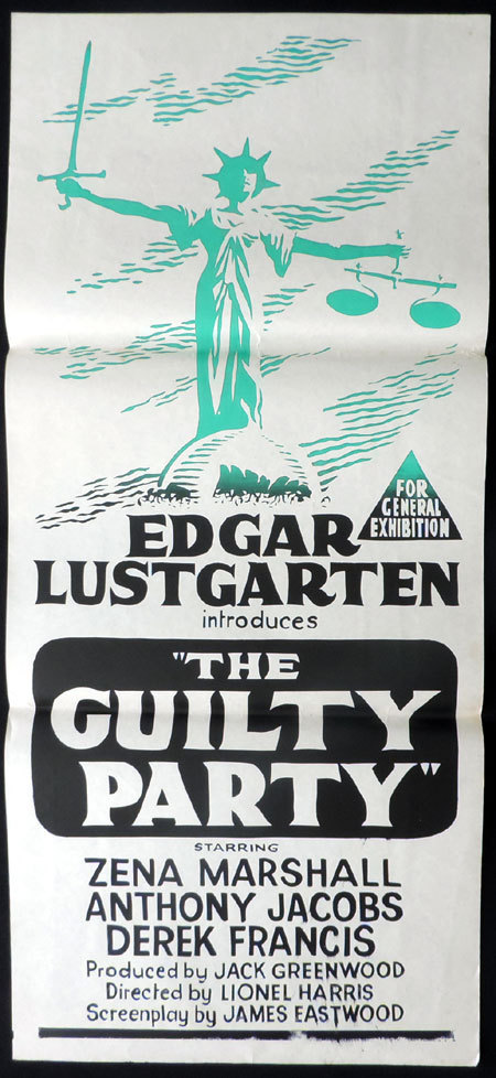 THE GUILTY PARTY Daybill Movie poster Edgar Lustgarten Zena Marshall SCALES OF JUSTICE