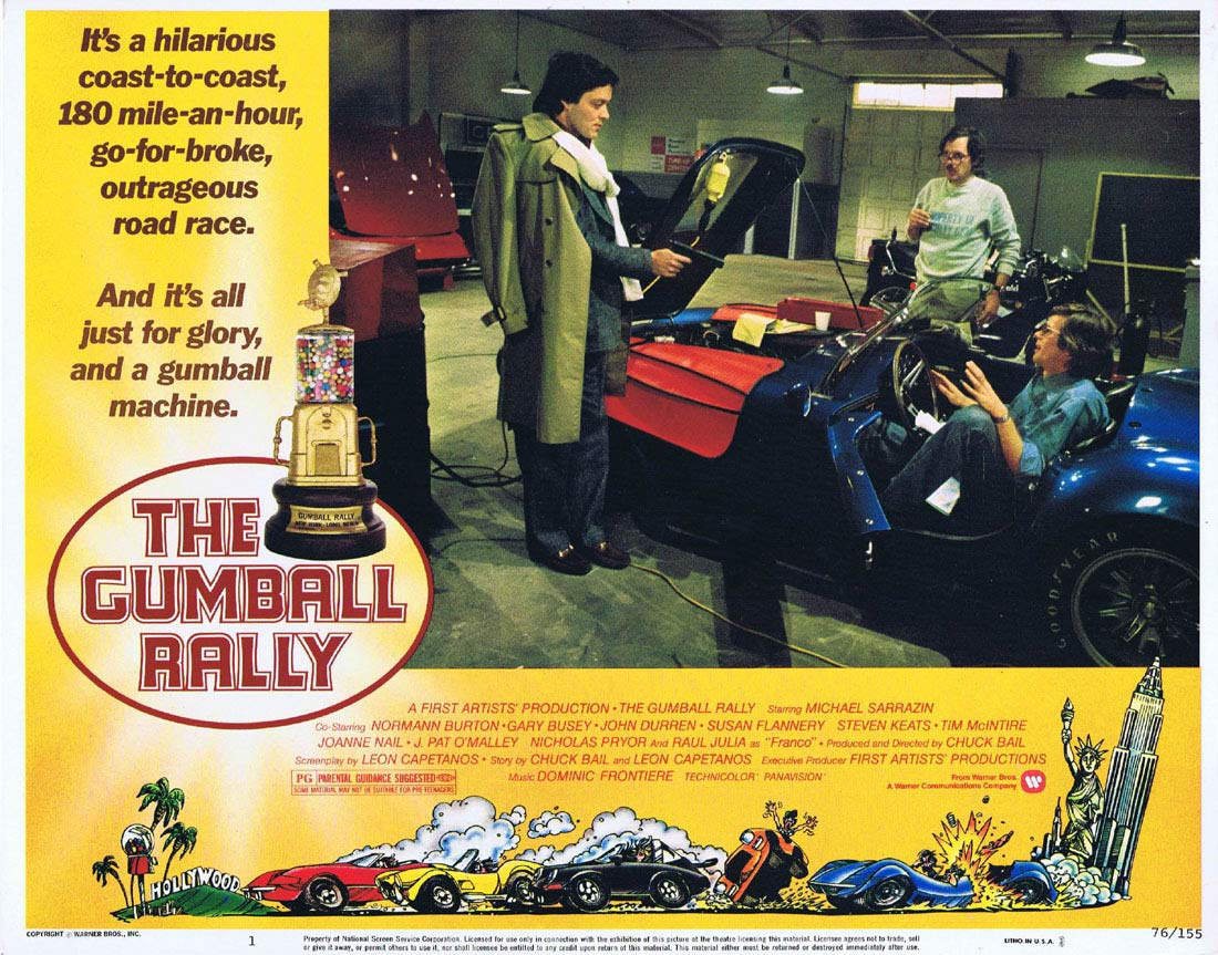 THE GUMBALL RALLY Original Lobby Card 1 Michael Sarrazin Motor Racing