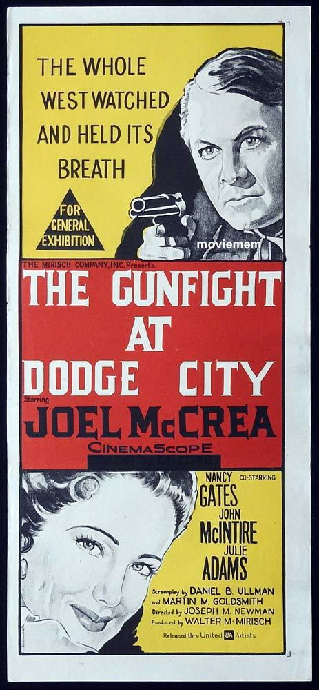 GUNFIGHT AT DODGE CITY Original Daybill Movie Poster Joel McCrea Julie Adams