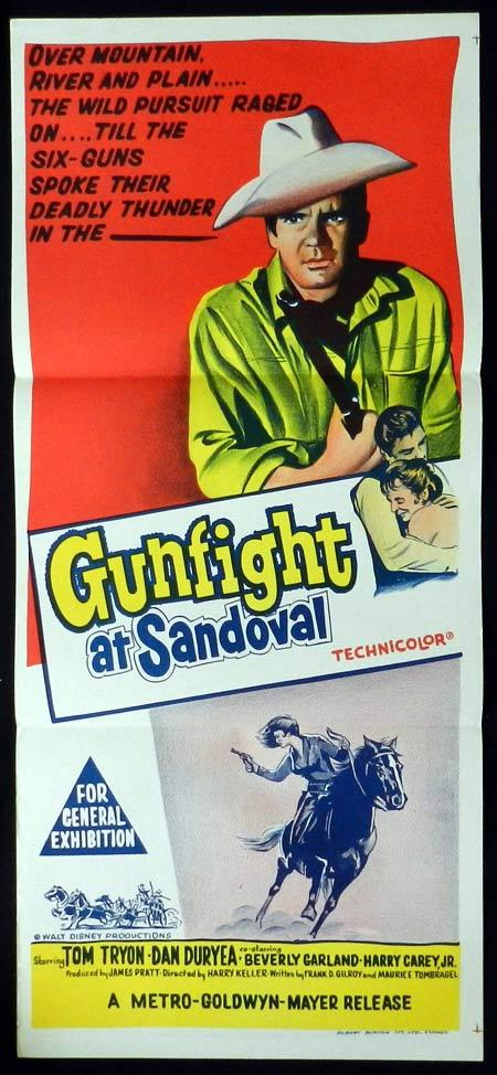 GUNFIGHT AT SANDOVAL Original Daybill Movie Poster Tom Tryon Dan Duryea